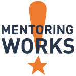 Mentoring works logo, exclamation point with the words: Montoring Works superimposed