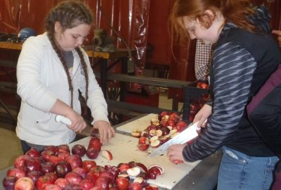 two girls cutting up apples